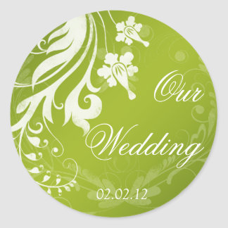 Green with White Floral Wedding Envelope Seal