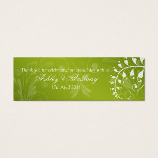 Green with White Floral Wedding Favour Tags