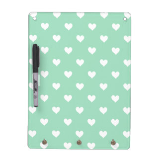 Green with White Heart Dry Erase Board