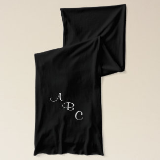 Green with White Scripted Monogram Scarf