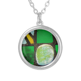 Green, with yellow stained glass silver plated necklace