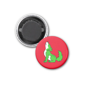 Green Wolf Pup Howling 1 Inch Round Magnet