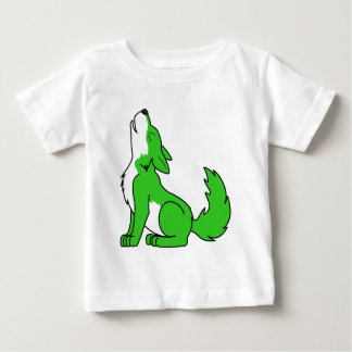Green Wolf Pup Howling Baby T-Shirt