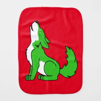 Green Wolf Pup Howling Burp Cloth