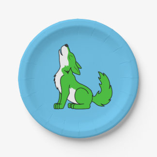 Green Wolf Pup Howling Paper Plate