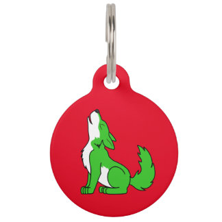 Green Wolf Pup Howling Pet Name Tag
