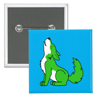 Green Wolf Pup Howling Pinback Button