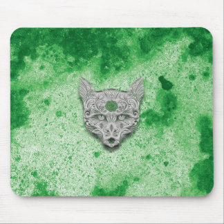 Green Wolf Sugar Skull Mouse pad