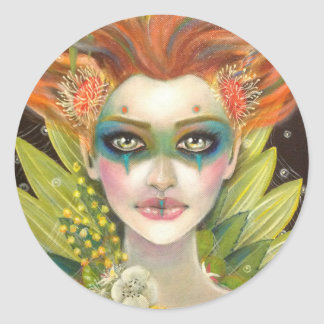 Green Woman Classic Round Sticker