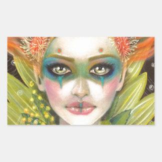 Green Woman Rectangular Sticker