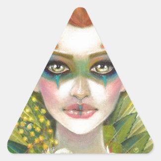 Green Woman Triangle Sticker