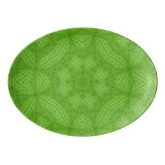 Green wood abstract pattern porcelain serving platter