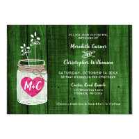 Green Wood Rustic Mason Jar Wedding Invitation