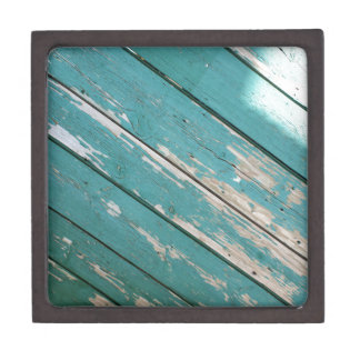 Green wooden boards with blade paint keepsake box