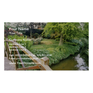 Green Wooden Bridge With View Of River And Garden Business Card Templates