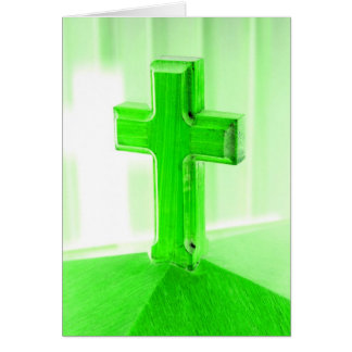Green wooden cross photograph image church stationery note card