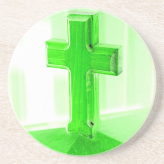 Green wooden cross photograph image church beverage coasters