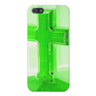 Green wooden cross photograph image church cover for iPhone 5/5S