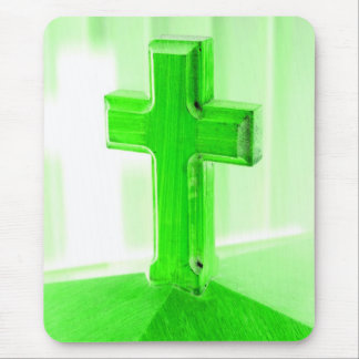 Green wooden cross photograph image church mouse pad