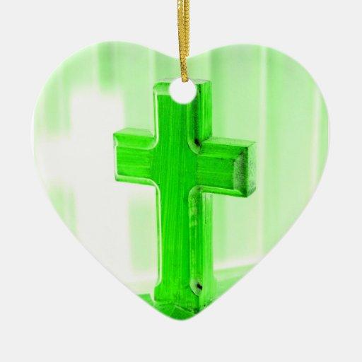 Green wooden cross photograph image church christmas ornaments