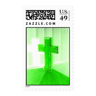 Green wooden cross photograph image church postage