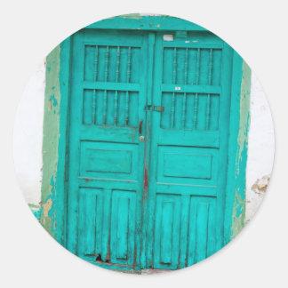 Green wooden doors classic round sticker