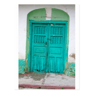 Green wooden doors postcard