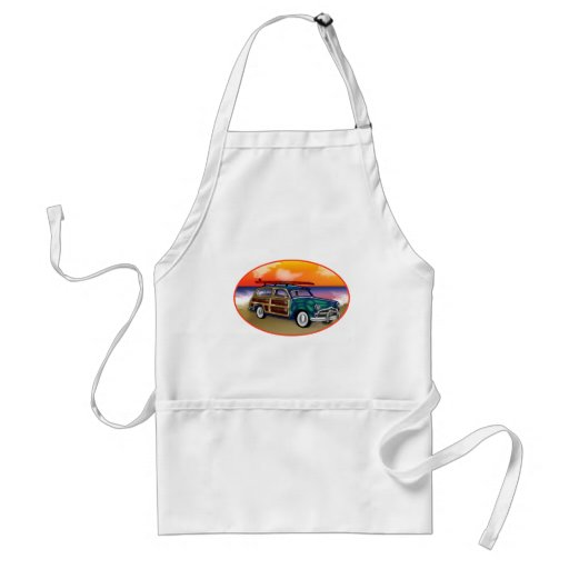 Green Woodie & Surfboard at Sunset Apron