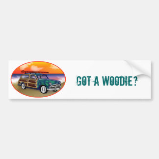 Green Woodie & Surfboard at Sunset Bumper Stickers