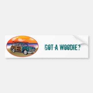 Green Woodie & Surfboard at Sunset Bumper Sticker