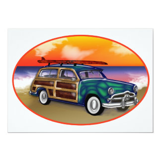 Green Woodie & Surfboard at Sunset Card