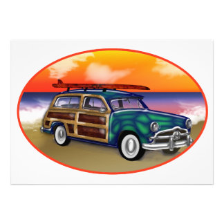 Green Woodie Surfboard at Sunset Invitation