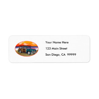 Green Woodie & Surfboard at Sunset Custom Return Address Label