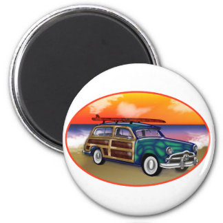 Green Woodie & Surfboard at Sunset 2 Inch Round Magnet