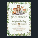 """Green Woodland Baby Shower Invitation Forest<br><div class=""""desc"""">Whimsical baby shower invitation featuring illustration of rustic watercolor greens,  foliages and adorable forest animals: fox,  deer,  bear and raccoon</div>"""