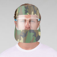 Green Woodland Camo Camouflage Illustrated Face Shield