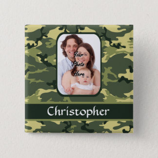 Green woodland camouflage button