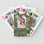 Green woodland camouflage card deck