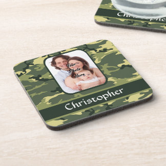 Green woodland camouflage coasters
