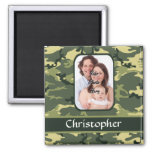 Green woodland camouflage pattern 2 inch square magnet