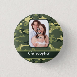 Green woodland camouflage pinback button