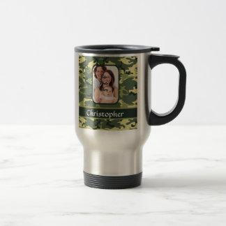 Green woodland camouflage travel mug