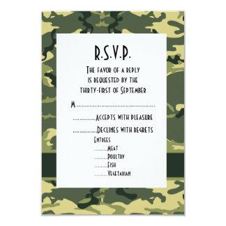 Green woodland camouflage wedding R.S.V.P Card