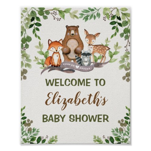 Green Woodland Forest Baby Animals Welcome Poster