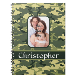 Green woodland forest camouflage spiral notebook