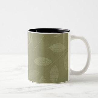 Green Woodland Leaves Paint script Two-Tone Coffee Mug