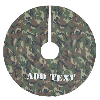 Green Woodland Military Camouflage Pattern Brushed Polyester Tree Skirt