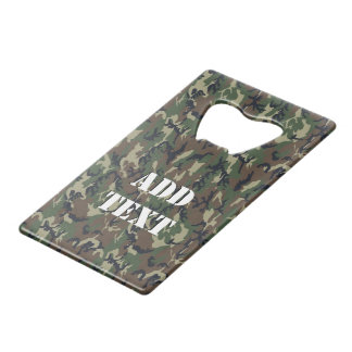 Green Woodland Military Camouflage Pattern Credit Card Bottle Opener