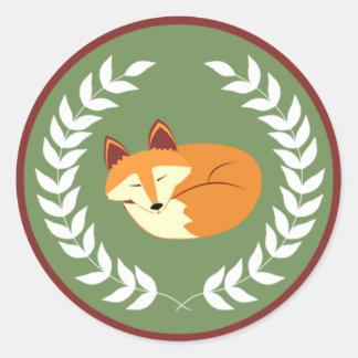 Green Woodland Sleeping Fox Baby Shower Stickers