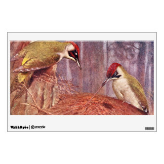 Green Woodpecker Couple Eating Ants Wall Decal